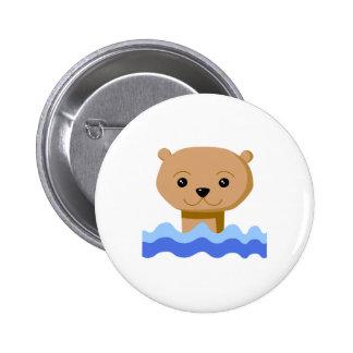 Nutria de la natación pin redondo 5 cm