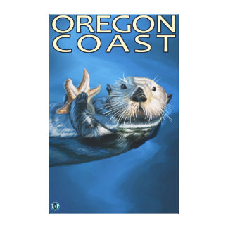 Nutria de mar de la costa de Oregon Lona Envuelta Para Galerías