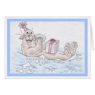 Nutria de mar del cumpleaños tarjeta de felicitación