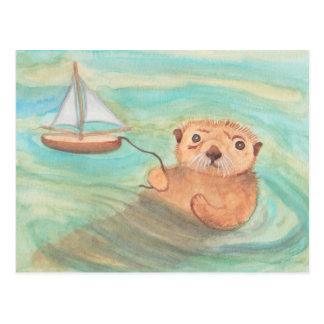 Nutria de mar y velero tarjetas postales