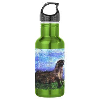 Nutria de río brillante botella de agua