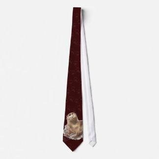 Nutria de río divertida y huellas, corbata de las
