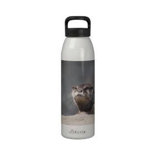 Nutria de río linda botella de beber