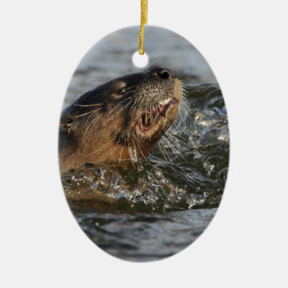 Nutria de río que come un pescado adorno navideño ovalado de cerámica