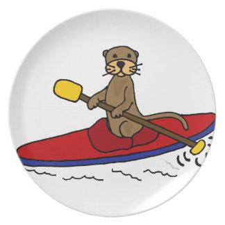 Nutria divertida Kayaking Plato De Comida