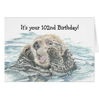 Nutria emocionada linda del 102o cumpleaños feliz  tarjeta de felicitación