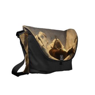 Nutria en la bolsa de mensajero del carrito de la  bolsas messenger