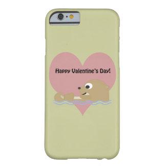 Nutria feliz del día de San Valentín Funda Barely There iPhone 6