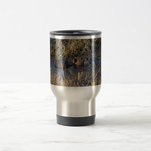 Nutria in water 15 oz stainless steel travel mug