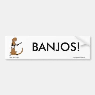 Nutria que toca el banjo pegatina de parachoque
