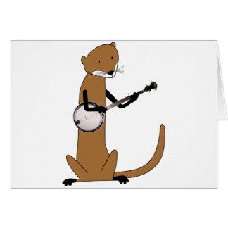 Nutria que toca el banjo tarjeta