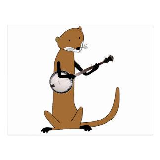 Nutria que toca el banjo tarjeta postal