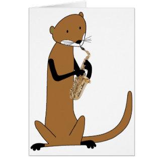Nutria que toca el saxofón tarjeta de felicitación