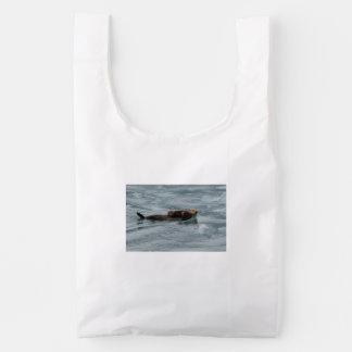 nutria y bebé de mar bolsa reutilizable