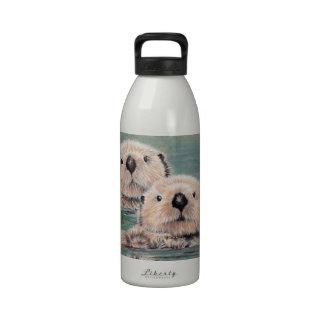 Nutrias de mar botella de agua reutilizable