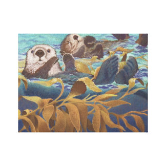 nutrias de mar impresiones en lienzo estiradas