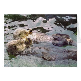 Nutrias de mar que llevan a cabo las manos tarjeton