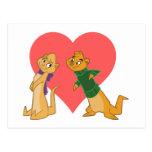 Nutrias en postal del amor