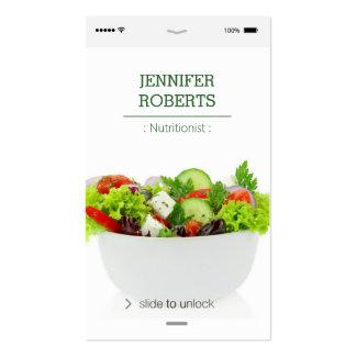 Nutricionista creativo y único de la comida de las tarjetas de visita