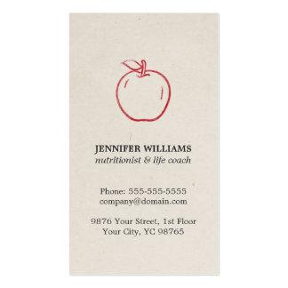 Nutricionista rojo fresco elegante mínimo de Apple Tarjetas De Visita