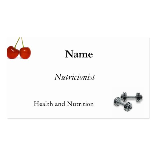 Nutrition, exercise Double-Sided standard business cards (Pack of 100)