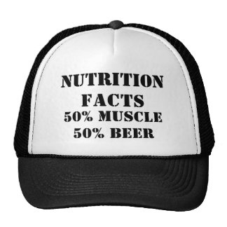 NUTRITION FACTS, 50% MUSCLE50% BEER TRUCKER HAT