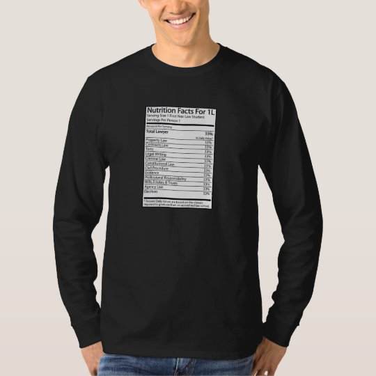 Nutrition Facts For 1L T-Shirt