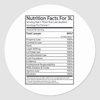 Nutrition Facts For A 3L Classic Round Sticker