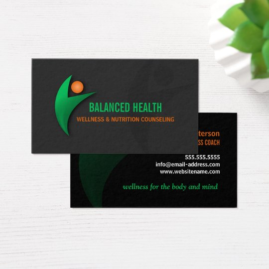 Nutrition wellness and fitness coach business card zazzle for Health coach business card ideas