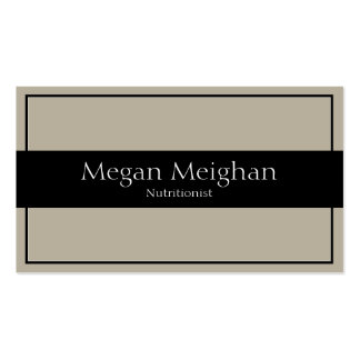 Nutritionist Business Card - Classy Beige & Black