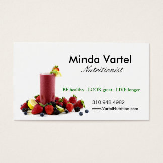 Nutritionist Food Coach, Health, Weight Smoothie Business Card