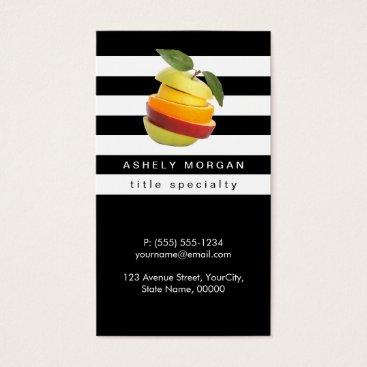 CardHunter Nutritionist Fruits Logo - Black White Stripes Business Card