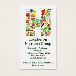 Nutritionist Monogram H Appointment Business Card