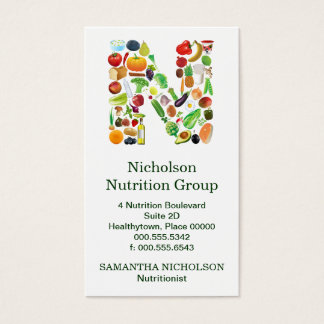 Nutritionist Monogram N Appointment Business Card