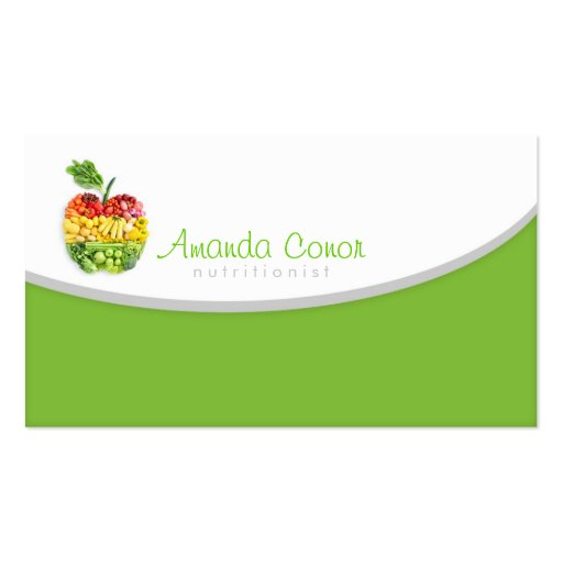 Minimalistic nutritionist nutrition coach card double for Nutrition business cards