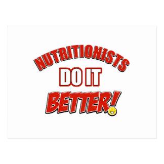 Nutritionists job designs postcard