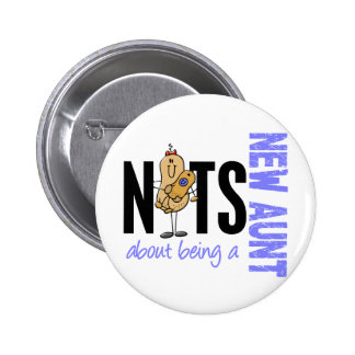 Nuts About Being A New Aunt 1 Blue Pinback Button