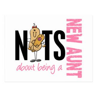 Nuts About Being A New Aunt 1 Pink Postcard