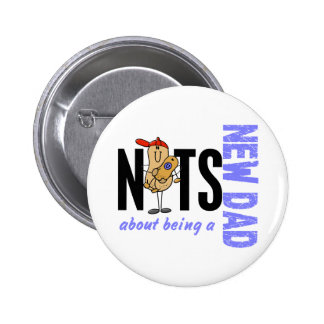 Nuts About Being A New Dad 1 Blue Pinback Button