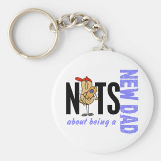 Nuts About Being A New Dad 1 (Blue) Keychain
