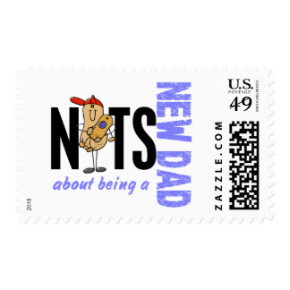 Nuts About Being A New Dad 1 (Blue) Postage Stamps