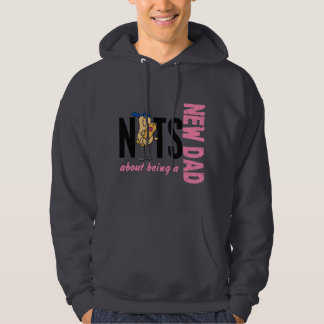 Nuts About Being A New Dad 1 (Pink) Hooded Pullovers
