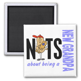 Nuts About Being A New Grandpa 1 Blue 2 Inch Square Magnet