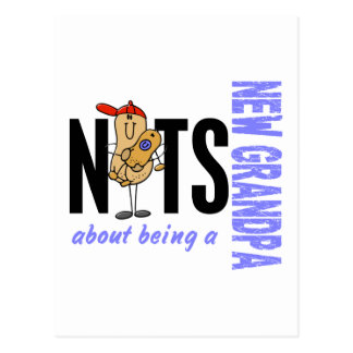 Nuts About Being A New Grandpa 1 Blue Postcard