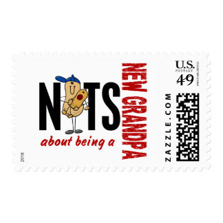 Nuts About Being A New Grandpa 1 Red Postage Stamp