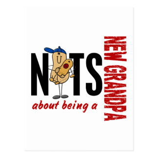 Nuts About Being A New Grandpa 1 Red Postcard