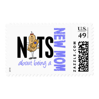 Nuts About Being A New Mom 1 Blue Postage Stamps