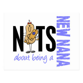 Nuts About Being A New Nana 1 Blue Postcard