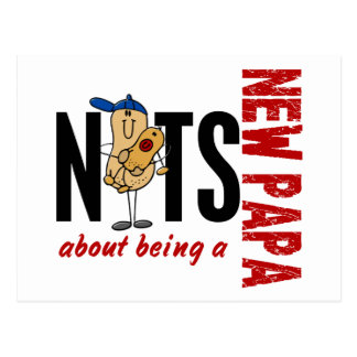 Nuts About Being A New Papa 1 Red Postcard