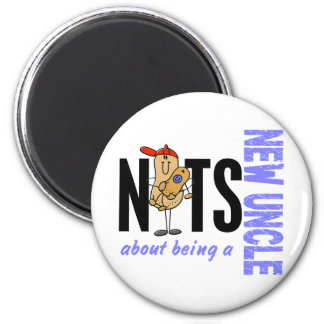 Nuts About Being A New Uncle 1 Blue 2 Inch Round Magnet